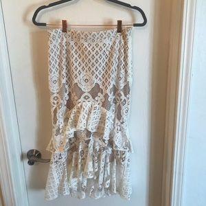 Chelsea 28 White lace midi skirt